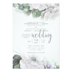Blossoms and Berries Floral Wedding Green ID476 Card - invitations custom unique diy personalize occasions