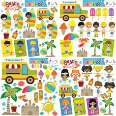 A day at the beach, Kids summer time, Kids Pool Party / Kit printable / Digital Clipart / Instant Download