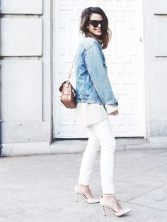 Jean jacket + chunky sweater + white skinny jeans and t-strap heels