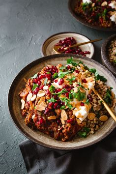 This stew is inspired by Khoresh Bademjan – a Persian aubergine stew. In this meatless version, roasted aubergines are slow-cooked in a tomato-and-black-lime sauce until velvety and fragrant. There are also lentils for sustenance and texture. This is serious slow-cooked comfort food. If you don't have black limes, you can add fresh lime juice or consider making black limes. Find instructions on nonguiltypleasures.com Khoresh Bademjan, Aubergine, Persian, Black Lime, Yoghurt, Vegetarian Slow Cook Roast, Snack Recipes, Healthy Recipes, Vegetarian Recipes, Healthy Comfort Food, Toasted Almonds, Chopped Salad, Fresh Lime Juice, Recipe Collection
