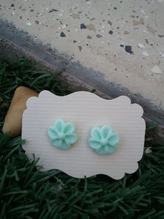 Light Turquoise Flower Resin cabochons Earings  14mm by kraftychix, $3.75