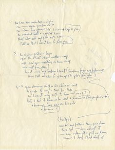 """Bob Dylan handwritten lyrics for """"I Want You"""" from his """"Blonde on Blonde"""" album.   Rock 'n' Roll Auction, Lot 53 / December 18th, 2013  https://www.profilesinhistory.com/auctions/rock-roll-auction-59-2/"""