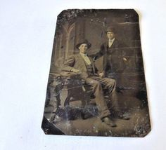 Old Vintage Antique Tintype Photo Two Gentleman Dressed In Their Best Hats On