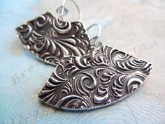 Fine Silver Earrings Eco Friendly Jewelry Gift for by HappyGoLicky, $65.00