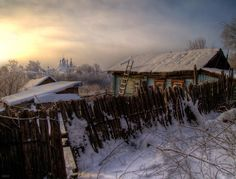 Russian winter in the country