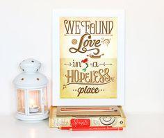 We Found Love (Calvin Harris) Little Mermaid, Disney Lyrics Poster, Music Art Print, Pop Song Illustration