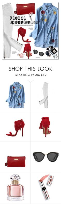 """""""Floral Embroidered"""" by oshint ❤ liked on Polyvore featuring Current/Elliott, Prada, Guerlain, Ciaté, awesome, amazing, pretty and zaful"""
