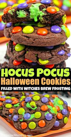 """Learn how to make these Magical Halloween Cookies filled with a delicious green """"witches brew"""" frosting from Soccer Mom Blog! Inspired by one of our favorite classic Halloween movies: Hocus Pocus! If you are having a Halloween party this year then you have to make these delicious cookies! Try this recipe this year! #halloween #cookies #desserts #recipes #hocuspocus Halloween Desserts, Postres Halloween, Creepy Halloween Food, Halloween Cookie Recipes, Hallowen Food, Looks Halloween, Halloween Cookies, Halloween Food For Party, Halloween Treats"""