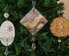 Vintage DIY Christmas ornaments. - Mod Podge Rocks