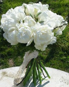 Handtied Bouquet made with White Tulip grown and made by Sussex Cutting Garden.