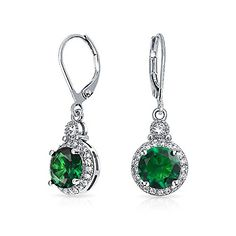 Bling Jewelry Simulated Emerald CZ Bridal Drop Earrings Rhodium Plated -- You can get more details by clicking on the image.(This is an Amazon affiliate link and I receive a commission for the sales)