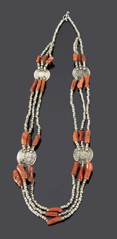 Algeria - Grand Kabylie | Necklace; silver, coral and coins | Sold ~ May '15