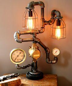 Dual Steam Gauge Lamp - #15 SOLD