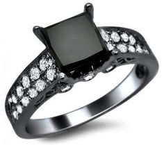 2.32ct Black Princess Cut Diamond Engagement Ring 14k Black Gold. $1,770.00, via Etsy.