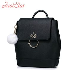 (53.96$)  Watch now - http://ai56y.worlditems.win/all/product.php?id=32774065084 - JUST STAR Women Backpack Ladies PU Leather Fashion Cat Daily Travel Double Shoulder Bags Girl's Causal Brand School Bags JZ4178