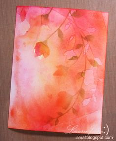 handmade card ... After-Hours Ink & Flowers ... watercolor wash with inking and stamping and spraying ... luv the impressionistic look in pinks with a bit of oranges ...