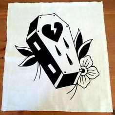 Broken heart coffin traditional tattoo inspired hand painted x off-white and black sew on cotton canvas MADE TO ORDER back patch Heart Tattoos With Names, Heart Tattoos Meaning, Tribal Heart Tattoos, Love Symbol Tattoos, Simple Heart Tattoos, Heart Tattoo Designs, Feather Tattoos, Body Art Tattoos, Sleeve Tattoos
