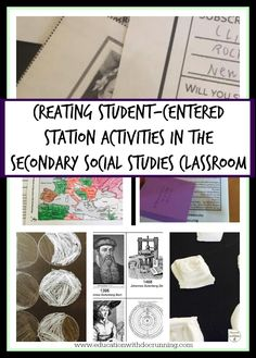 post full of ideas for how to set up station activities that are student-centered in the social studies classroom. 7th Grade Social Studies, Social Studies Projects, Social Studies Classroom, Social Studies Activities, History Classroom, Middle School Classroom, Teaching Social Studies, Teaching History, History Activities