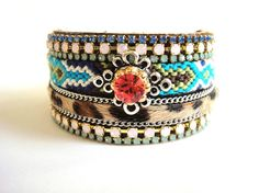 Bohemian hippie cuff bracelet - friendship bracelet - tribal gypsy style - turquoise leopard and orange adjustable leather cuff
