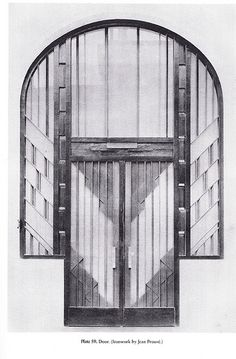 Door design by Jean Prouvé, a French metal worker, self-taught architect, and designer. His main achievement was transferring manufacturing technology from industry to architecture, without losing aesthetic qualities.