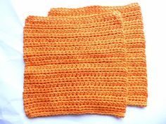 Crocheted Orange Dish Cloth Set by ACCrochet on Etsy, $12.00
