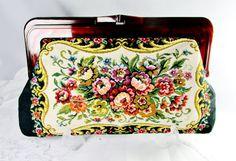 Vintage Clutch Floral Tapestry On Marsala On Black Fabric Art Nouveau Design Bakelite Snap Closure Gift Collectible Evening Bag  Item 1069