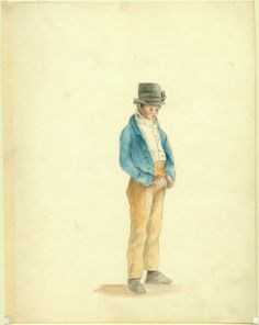 Boy in Beaver Hat, St. Louis. (1818) Watercolor by Anna Maria Von Phul. Missouri History Museum
