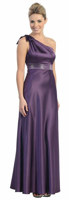One Shoulder Prom Dress Eggplant Beaded Empire Waist Homecoming Gown $97.99