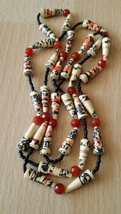 Carnelian and paper bead necklace by MagdaCrafts on Etsy, £20.00