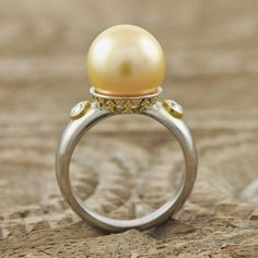 Solid genuine 18K Palladium white Gold Ring with 22K yellow GOLD Bali Granulation set with a genuine round golden South Sea Pearl and Diamonds  $3750