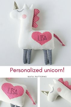 Personalized baby gifts Personalized unicorn plush Unicorn birthday party Unicorn for baby shower Unicorn for babies Unicorn for girls toys / Единорд, Sewing Projects For Kids, Sewing For Kids, Diy For Kids, Sewing Ideas, Sewing Toys, Baby Sewing, Sewing Crafts, Free Sewing, Party Unicorn