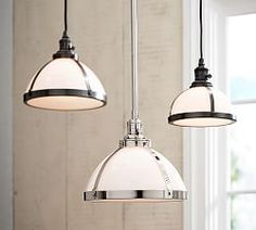 Milk Glass Pendant hood + Bronze Bulb Kit, Large at Pottery Barn - All For Decoration Ceiling Light Fixtures, Kitchen Pendant Lighting, Pendant Lighting, Farmhouse Lighting, Home Lighting, Kitchen Island Pottery Barn, Milk Glass, Glass Pendant Light, Light Fixtures