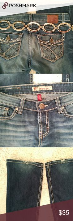 """BKE Sabrina embellished jeans medium wash; lots of silver thread, plus clear and color rhinestones on the back pockets; a few missing but you have to look hard to see where; some stretch; BKE brand; size 28; inseam 30.5""""   ; some shredding on the back side of the cuffs pic 3 (T-9) BKE Jeans Boot Cut"""