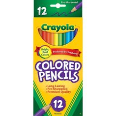 Crayola Long Barrel Colored Woodcase Pencils, 12 count
