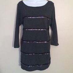 LOFT Sequin Striped Tee In excellent condition. 100% cotton. Sequined tee shirt. Dark gray 3/4 sleeve tee with black and silver sequins. LOFT Tops Tees - Long Sleeve