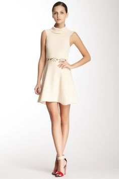 Embellished Waist Turtleneck Dress