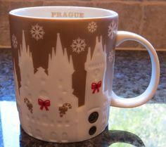 NWT Starbucks PRAGUE Gold Relief 2014 Christmas City Collector Series Mug w/SKU #Starbucks