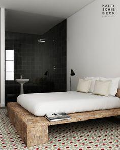 Un appartement en blanc à Barcelone; nice platform bed and flor