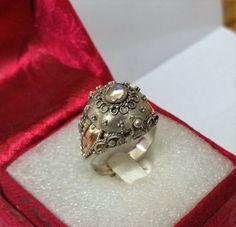 Vintage Ringe - Antiker Giftring Silber 835 mit Goldeinlage SR553 - ein Designerstück von Atelier-Regina bei DaWanda