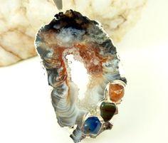 Agate Geode Druzy Gemstone Silver Pendant Black Brown White  | BeadSouk - Jewelry on ArtFire