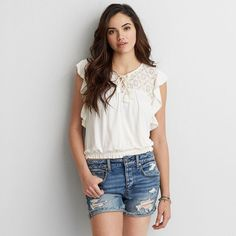 AEO Soft & Sexy Lace Bubble T-Shirt ($40) ❤ liked on Polyvore featuring tops, t-shirts, ivory, lace t shirt, crew neck t shirt, lace trim top, crew neck tee and lace top
