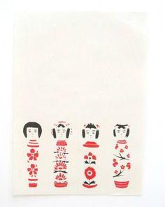 letter 星燈社 ざらざら紙のレターセット 「こけし」【罫ナシ】