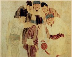 A painting depicting Emperor Taizu of Song playing cuju (i.e. Chinese football) with his prime minister Zhao Pu (趙普) and other ministers, by the Yuan dynasty artist Qian Xuan (1235–1305)