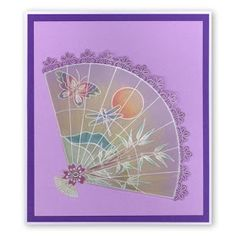 Oriental fan, Bamboo, Landscape plates Groovi card created by Amanda Branston Barbara Gray Blog, Parchment Cards, Artwork Design, Clear Stamps, Crafts To Make, Make It Simple, Birthday Cards, Butterfly, Plates