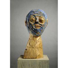 Georg Baselitz, Blue Head, 1984, Wood.
