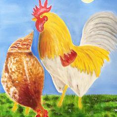 Das Oelbild zeigt ein klassisches Sujet aus der Tierwelt. Mit Hühner lassen sich schöne Bilder malen. Die Tiere sind farbig und in der Natur draussen. Vielfach lassen sich auch menschliche Züge aus dem Verhalten der Hühner herauslesen?  #hühnerhaltung #oelbilder #malerei #geflügelhaltung #rassegeflügel #eierproduktion #unterhaltung #hühnerschar #hahn #henne #rassegeflügel #hühnerasse #hühnerfütter #malerei #wiese #himmel Hahn, Rooster, Animals, Drawing Pictures, Pretty Pictures, Entertaining, Heavens, Painting Art, Nature