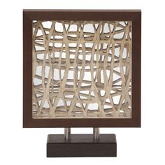 Howard Elliott Collection - Tea Stained Abstract Paper Walnut Brown Wood Veneer Frame with Mirror Accents