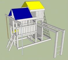 Detailed Plans (Blue Prints) To Build Kids Play Set Slide Playhouse (Swing Set) Kids Playhouse Plans, Outside Playhouse, Playhouse Kits, Backyard Playhouse, Build A Playhouse, Wooden Playhouse, Simple Playhouse, Backyard Playground, Backyard Ideas