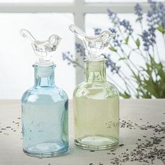 Glass Bottle with Bird Stopper – Ideal Home Show Shop Green Glass Bottles, Bottles And Jars, Ideal Home Show, Practical Gifts, French Country Style, Treasure Boxes, My Precious, Colored Glass, Home Accessories