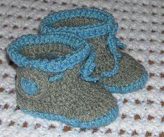 Handmade crochet baby boy booties grey and blue by misscatcrochet, $9.99
